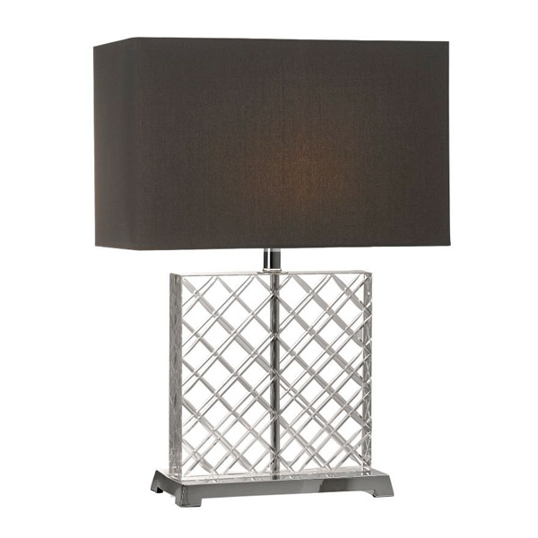 Nickel Base Table Lamp, Crystal Square Base Table Lamp